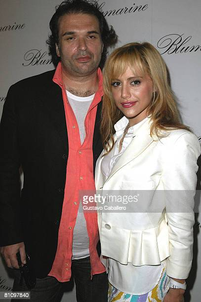 Simon Monjack and Brittany Murphy pose at the opening of the Blumarine flagship store in the United States at the Village of Merrick Park on April 2...