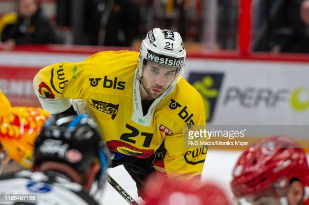 Simon Moser of SC Bern looks on during the Swiss National League game between Lausanne HC and SC Bern at Vaudoise Arena on November 1, 2019 in...