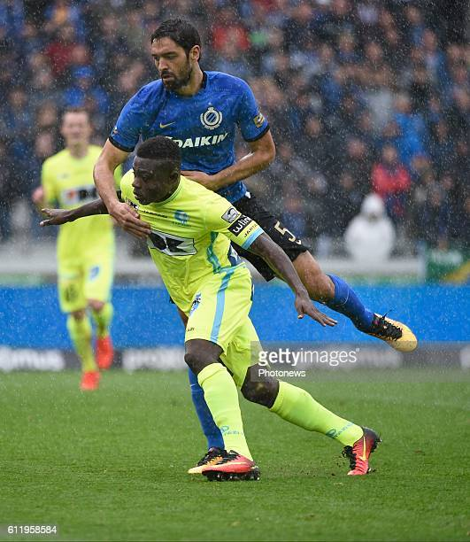 Simon Moses forward of KAA Gent and Benoit Poulain defender of Club Brugge pictured during Jupiler Pro League match between Club Brugge KV and KAA...