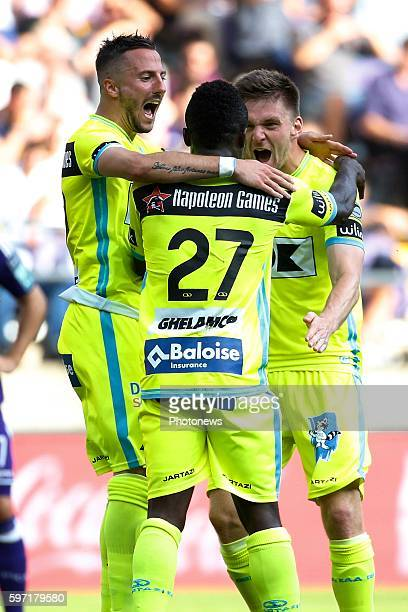 Simon Moses forward of KAA Gent celebrates pictured during Jupiler Pro League match between RSC Anderlecht and KAA Gent on August 28, 2016 in...