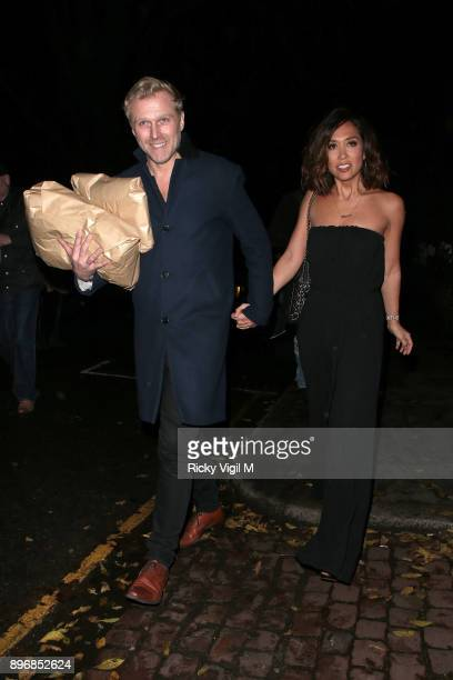 Simon Motson and Myleene Klass seen attending Piers Morgan Christmas party at Scarsdale Tavern on December 21 2017 in London England