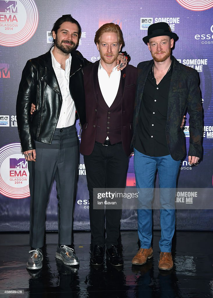 Simon Neil, Ben Johnston and James Johnston of Biffy Clyro attend the MTV EMA's 2014 at The Hydro on November 9, 2014 in Glasgow, Scotland.