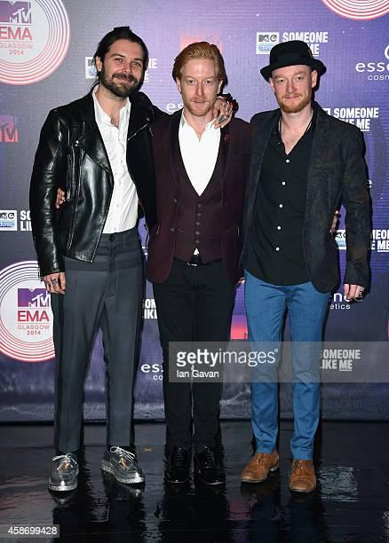 Simon Neil Ben Johnston and James Johnston of Biffy Clyro attend the MTV EMA's 2014 at The Hydro on November 9 2014 in Glasgow Scotland
