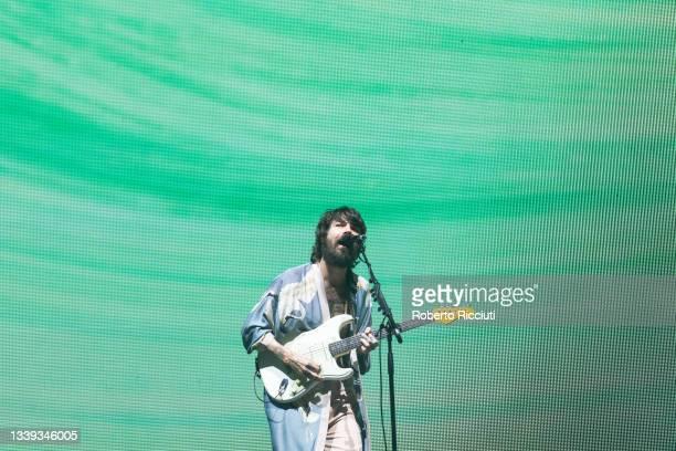 Simon Neil of Biffy Clyro performs on stage at Glasgow Green on September 09, 2021 in Glasgow, Scotland.