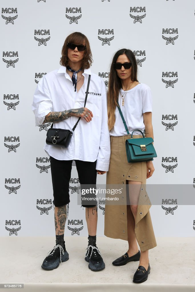 Simon Nygard and Ilenia Toma attend the MCM Fashion Show Spring/Summer 2019 during the 94th Pitti Immagine Uomo on June 13, 2018 in Florence, Italy.
