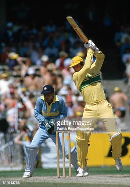 Simon O'Donnell batting for Australia during the Benson and Hedges World Championship of Cricket match between Australia and India at the MCG...