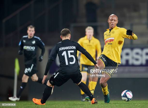 Simon Okosun of AC Horsens in action during the Danish Alka Superliga match between AC Horsens and Randers FC at CASA Arena Horsens on February 23...