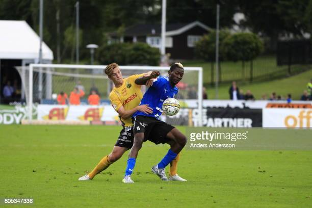 Simon Olsson of IF Elfsborg and Aboubakar Keita of Halmstad BK competes for the ball during the Allsvenskan match between Halmstad BK and IF Elfsborg...