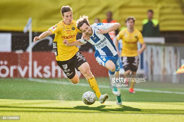 Simon Olsson of IF Elfsborg and Mix Diskerud of IFK Goteborg battles for the ball during the Allsvenskan match between IF Elfsborg and IFK Goteborg...