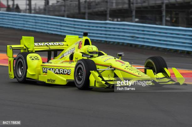 Simon Pagenaud driver of the Menards Team Penske Chevrolet during practice for the INDYCAR Grand Prix at The Glen at Watkins Glen International on...