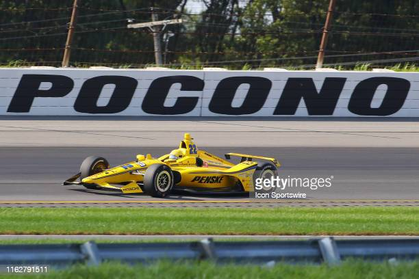 Simon Pagenaud driver of the Penske Truck Rental Team Penske Chevrolet drives during the IndyCar Series ABC Supply 500 on August 18 2019 at Pocono...