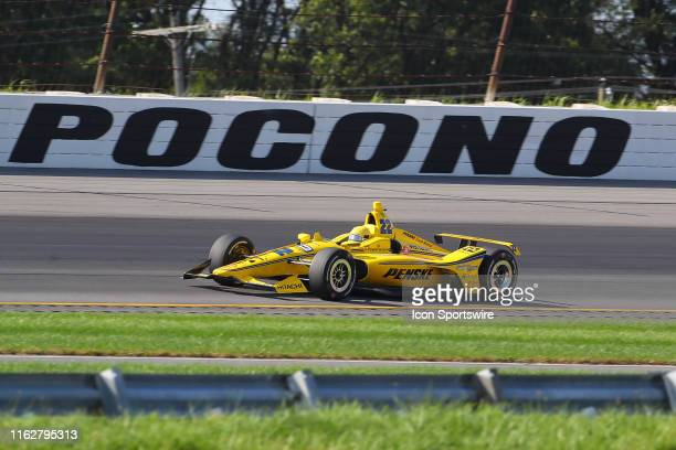 Simon Pagenaud driver of the Penske Truck Rental Team Penske Chevrolet during the IndyCar Series ABC Supply 500 on August 18 2019 at Pocono Raceway...