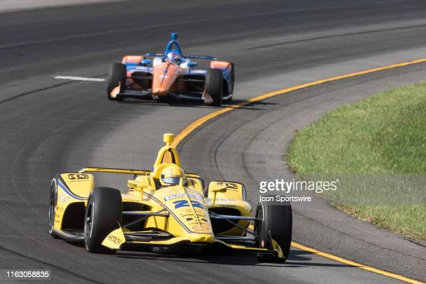 Simon Pagenaud driver of the Penske Truck Rental Team Penske Chevrolet races into turn 3 during the ABC Supply 500 on August 18 at Pocono Raceway in...