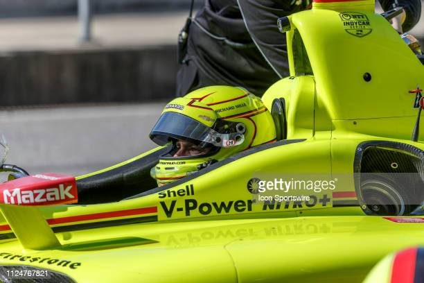 Simon Pagenaud in a Chevrolet powered Dallara IR12 in the pits during the IndyCar Spring Training on February 13 at Circuit of the Americas in Austin...