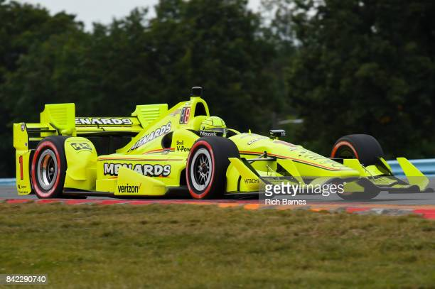 Simon Pagenaud of France driver of the Menards Team Penske Chevrolet during the INDYCAR Grand Prix at The Glen at Watkins Glen International on...