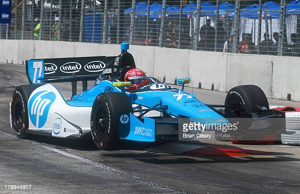 Simon Pagenaud of France driver of the Schmidt Hamilton Motorsports Honda Dallara races through a turn during qualifying for the Grand Prix of...