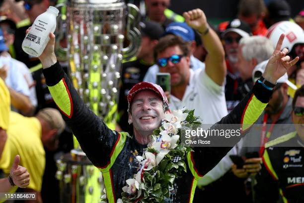 Simon Pagenaud of France driver of the Team Penske Chevrolet celebrates winning the 103rd Indianapolis 500 at Indianapolis Motor Speedway on May 26...