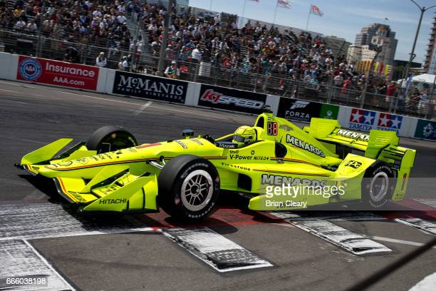 Simon Pagenaud of France drives the Chevrolet IndyCar on the track during practice for the Grand Prix At Long Beach on April 7 2017 in Long Beach...