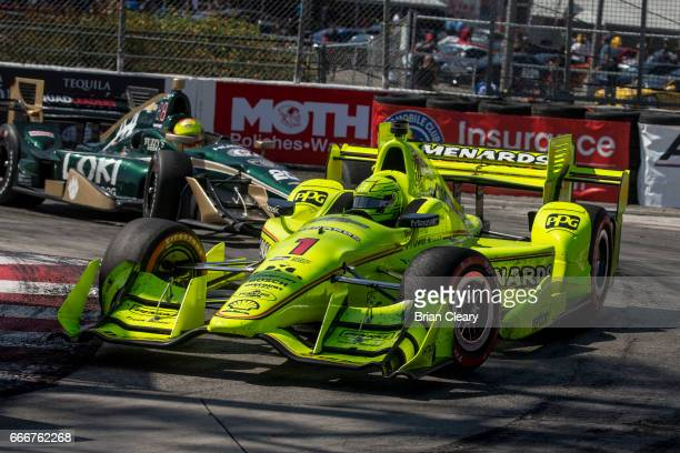 Simon Pagenaud of France drives the Chevrolet IndyCar through a turn during the Grand Prix at Long Beach IndyCar race on April 9 2017 in Long Beach...