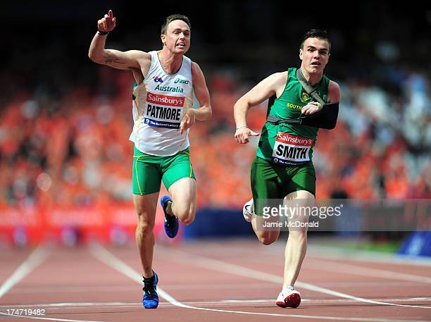 Simon Patmore of Australia and Zivan Smith of South Africa compete in the Men's T46 100m during day three of the Sainsbury's Anniversary Games IAAF...