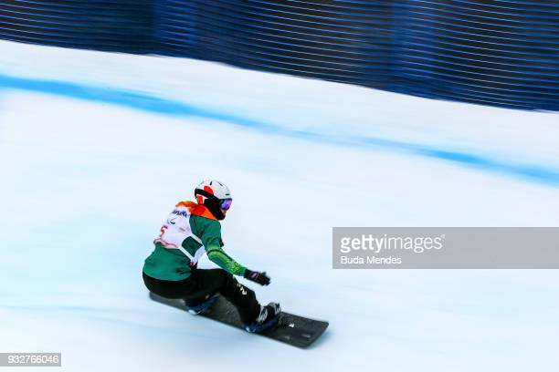 Simon Patmore of Australia competes during the Men's Banked Slalom SBUL during day seven of the PyeongChang 2018 Paralympic Games on March 16 2018 in...
