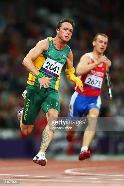 Simon Patmore of Australia competes in the Men's 200m T46 heats on day 2 of the London 2012 Paralympic Games at Olympic Stadium on August 31 2012 in...