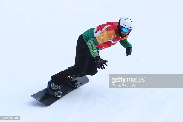 Simon Patmore of Australia competes in the Snowboard Men's Snowboard Cross SBUL Final during day three of the PyeongChang 2018 Paralympic Games on...