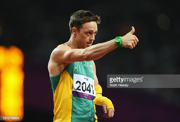 Simon Patmore of Australia gives the thumbs up after competing in the Men's 200m T46 heats on day 2 of the London 2012 Paralympic Games at Olympic...