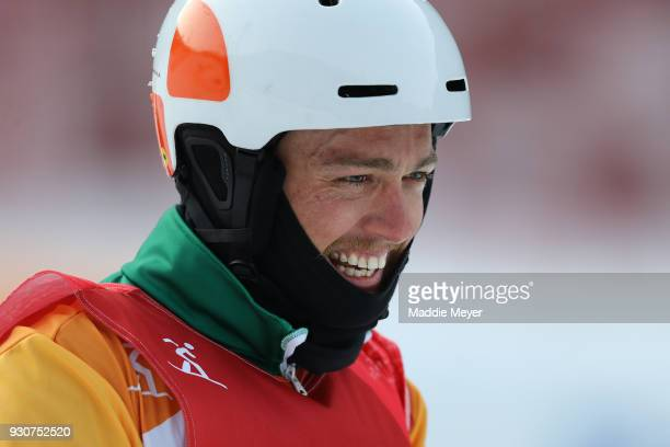 Simon Patmore of Australia is all smiles after winning the Gold medal in the Men's Snowboard Cross SBUL during day three of the PyeongChang 2018...