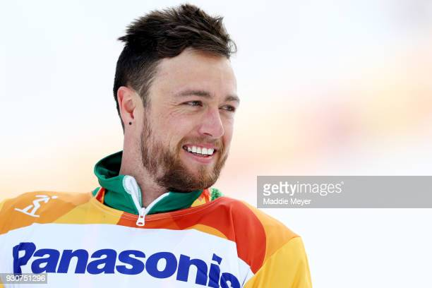 Simon Patmore of Australia looks on after winning the gold medal in SBUL Snowboard Cross at Jeongseon Alpine Centre on Day 2 of the PyeongChang 2018...