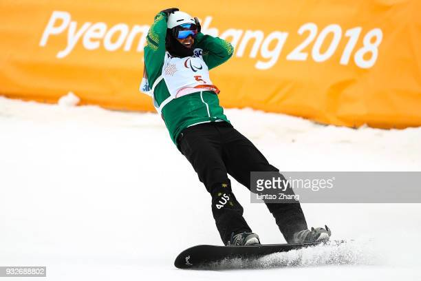 Simon Patmore of Australia reacts after competes in the Men's Banked Slalom SBLL1 Run 3 during day seven of the PyeongChang 2018 Paralympic Games on...