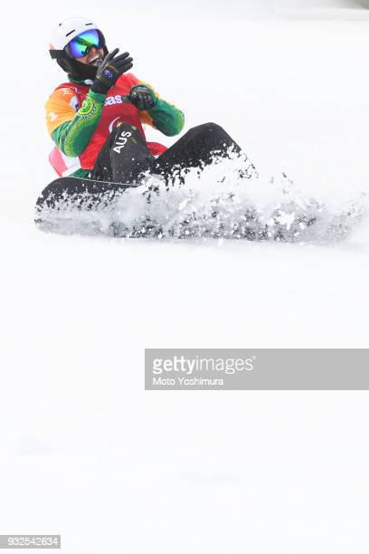 Simon Patmore of Canada celebrates winning the gold medal in the Men's Snowboard Cross SBUL during day three of the PyeongChang 2018 Paralympic Games...