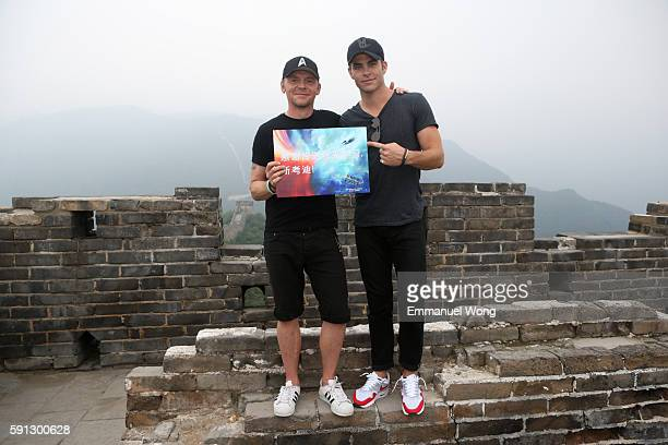 Simon Pegg and Chris Pine visit the Great Wall during the promotional tour of the Paramount Pictures title Star Trek Beyond on August 17 2016 in...