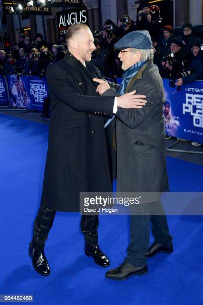 Simon Pegg and director Steven Spielberg attend the European Premiere of 'Ready Player One' at Vue West End on March 19 2018 in London England