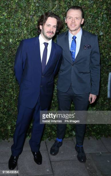Simon Pegg and Edgar Wright arriving at the Charles Finch and Chanel preBafta party at the Mark's Club in Mayfair London