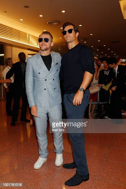 Simon Pegg and Henry Cavill arrive in support of the 'Mission Impossible Fallout' World Press Tour at Haneda Airport on July 17 2018 in Tokyo Japan