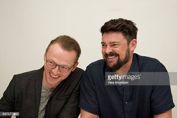 Simon Pegg and Karl Urban at the 'Star Trek Beyond' Press Conference at the Four Seasons Hotel on July 14 2016 in Beverly Hills California
