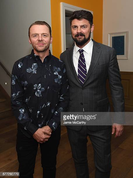 Simon Pegg and Karl Urban attend the 'Star Trek Beyond' New York Premiere After Party at Crosby Street Hotel on July 18 2016 in New York City