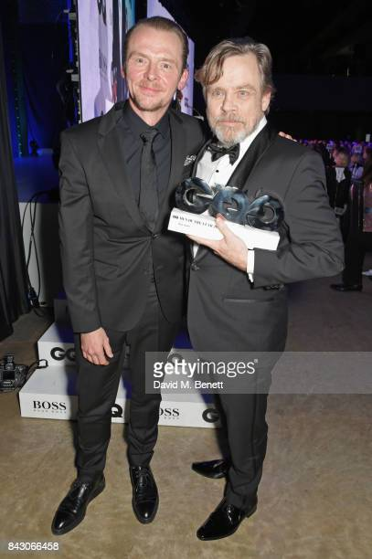Simon Pegg and Mark Hamill winner of the Icon award attend the GQ Men Of The Year Awards at the Tate Modern on September 5 2017 in London England