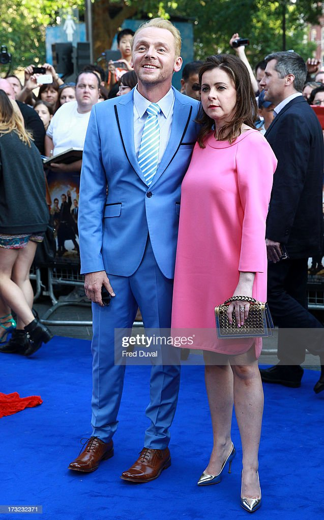 Simon Pegg and Maureen McCann attend the World film Premiere of 'The World's End' at The Empire Cinema on July 10, 2013 in London, England.