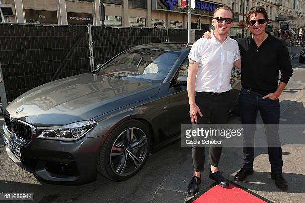 Simon Pegg and Tom Cruise arrive for the world premiere of 'Mission Impossible Rogue Nation' at the Opera House on July 23 2015 in Vienna Austria