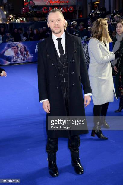 Simon Pegg attends the European Premiere of 'Ready Player One' at Vue West End on March 19 2018 in London England