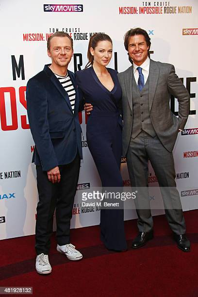 "Simon Pegg, Rebecca Ferguson and Tom Cruise attend an exclusive screening of ""Mission: Impossible Rogue Nation"" at the BFI IMAX on July 25, 2015 in..."