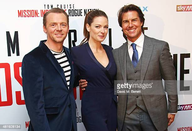 Simon Pegg Rebecca Ferguson and Tom Cruise attend an exclusive screening of 'Mission Impossible Rogue Nation' at the BFI IMAX on July 25 2015 in...