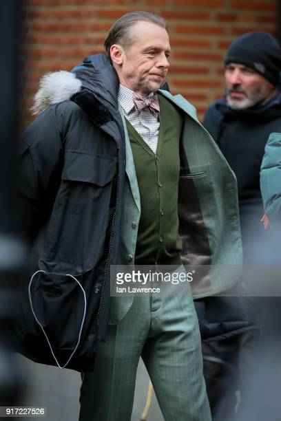 Simon Pegg seen filming scenes for Mission Impossible 6 at the Tate Moderm museum on February 11 2018 in London England