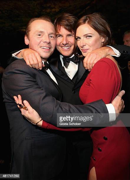 Simon Pegg Tom Cruise and Rebecca Ferguson attend the afterparty for the world premiere of 'Mission Impossible Rogue Nation' at Sofitel Hotel Vienna...