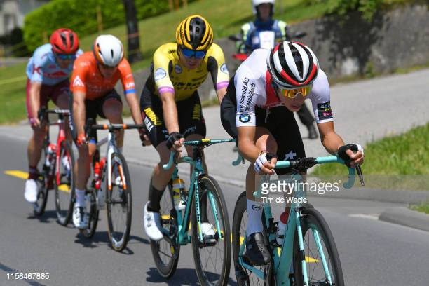 Simon Pellaud of Switzerland and Team Switzerland / Bert Jan Lindeman of The Netherlands and Team Jumbo - Visma / Ryan Anderson of Canada and Team...