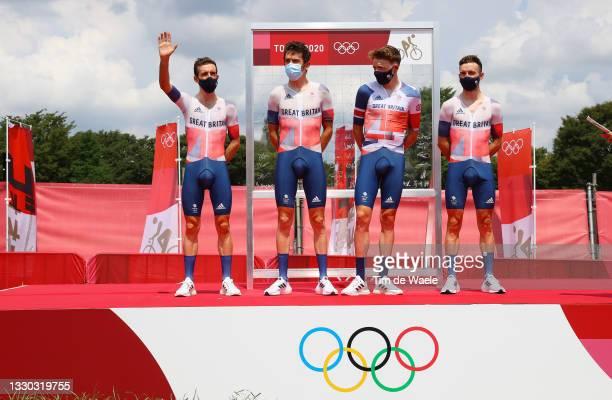 Simon Philip Yates of Team Great Britain, Geraint Thomas of Team Great Britain, Tao Geoghegan Hart of Team Great Britain & Adam Yates of Team Great...