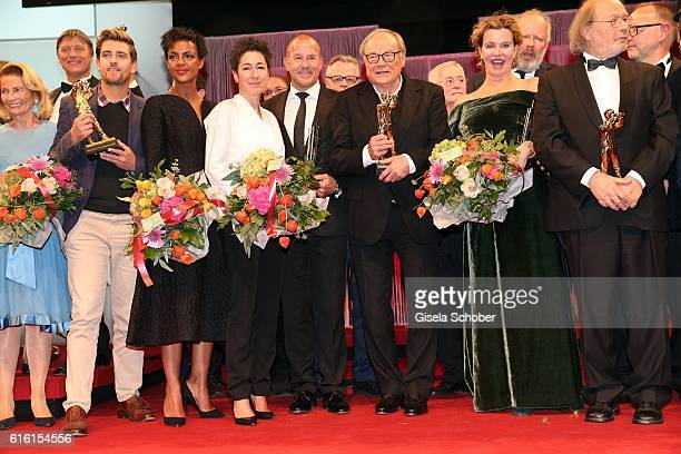 Simon Pilarski Dennenesch Zoude Dunja Hayali Heino Ferch Klaus Maria Brandauer and Margarita Broich during the Hessian Film and Cinema Award at Alte...