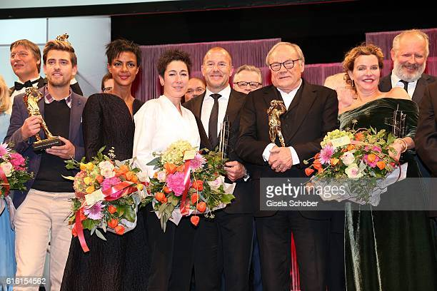 Simon Pilarski, Dennenesch Zoude, Dunja Hayali, Heino Ferch, Klaus Maria Brandauer and Margarita Broich during the Hessian Film and Cinema Award at...